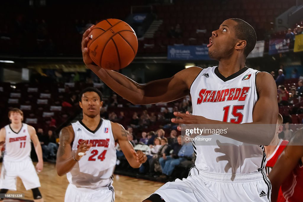 Seth Tarver #15 of the Idaho Stampede looks to the basket during the NBA D-League game against the Maine Red Claws on December 26, 2012 at CenturyLink Arena in Boise, Idaho.