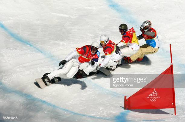 Seth Wescott of the United States competes in the Mens Snowboard Cross Final on Day 6 of the 2006 Turin Winter Olympic Games on February 16 2006 in...