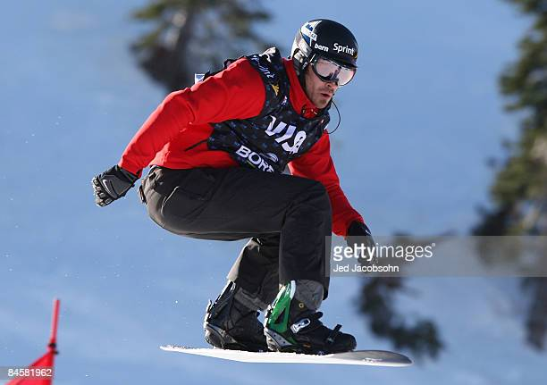 Seth Westcott of the USA competes at boardercross during day 3 of the US Snowboard Grand Prix at Boreal Resort on February 1 2009 in Boreal California