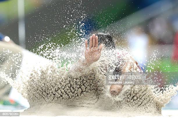 Setiyo Budi Hartanto of Indonesia competes during the Men's Long Jump T47 final at Olympic Stadium on day 7 of the Rio 2016 Paralympic Games at on...