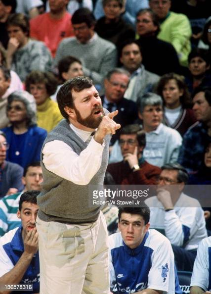 Seton Hall coach P J Carlesimo gestures at referee during a game against the University of Connecticut Hartford CT 1988