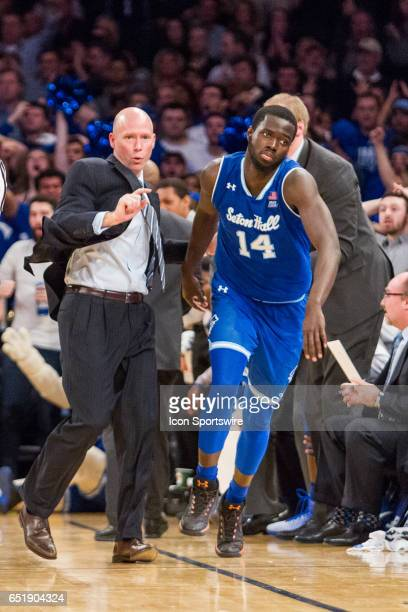 Seton Hall Head Coach Kevin Willard sends in Forward Ismael Sanogo during the first semifinal matchup in the BigEast Conference men's basketball...
