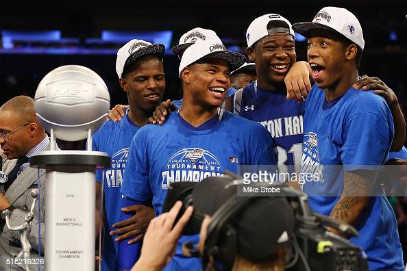 Seton Hall Pirates celebrates after defeating the Villanova Wildcats to win the Big East Basketball Tournament Championship at Madison Square Garden...
