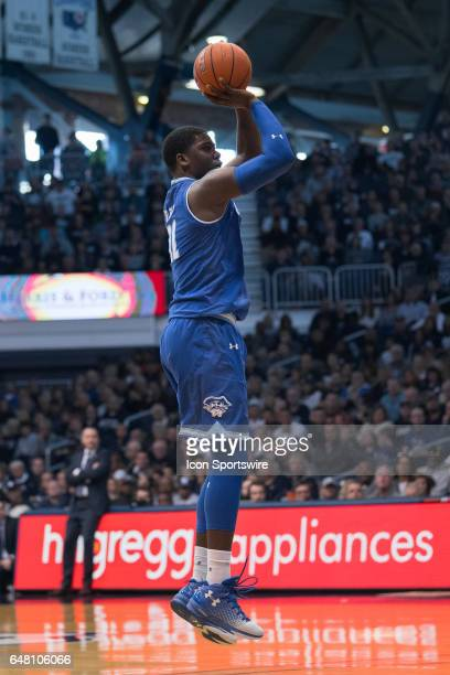 Seton Hall Pirates forward Angel Delgado shoots from the wing during the men's college basketball game between the Butler Bulldogs and Seton Hall...