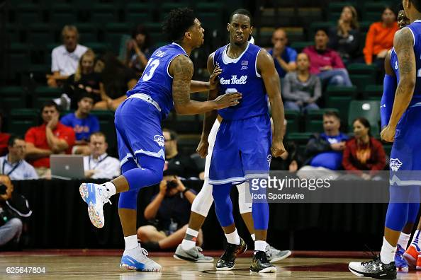 Seton Hall Pirates guard Khadeen Carrington is congratulated by Seton Hall Pirates guard Myles Powell after making a basket in the second half of the...