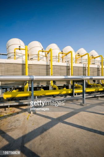 Sets of cooling towers in conditioning systems : Stock Photo