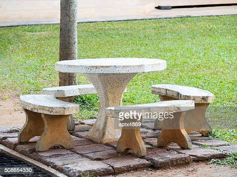 Sets of marble bench in garden : Stock Photo