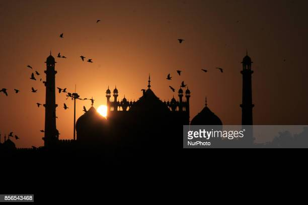 Setset over Jamia Masjid Old Delhi India on 30 September 2017 Jamia Masjid is the Largest Mosque in India