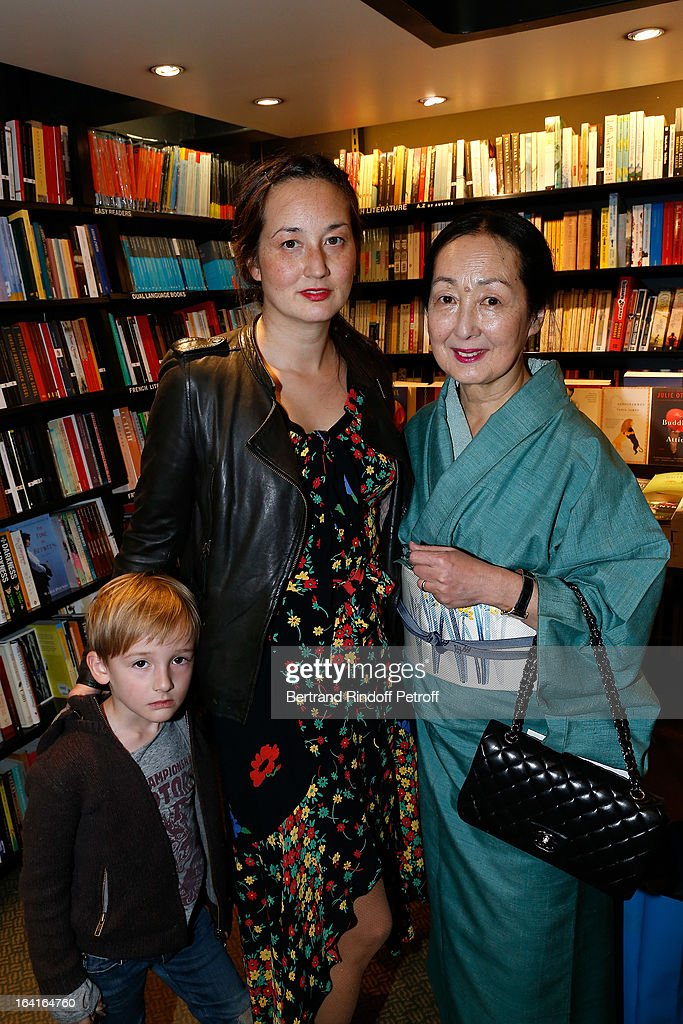 Setsuko Klossowska De Rola, the widow of late painter Balthus and her daughter Harumi Klossowska de Rola with her son Sen attend the book signing of 'Dream Life' (Vie Revee) by Thadee Klossowski De Rola at Galignani Bookstore in Paris, France on March 20, 2013.