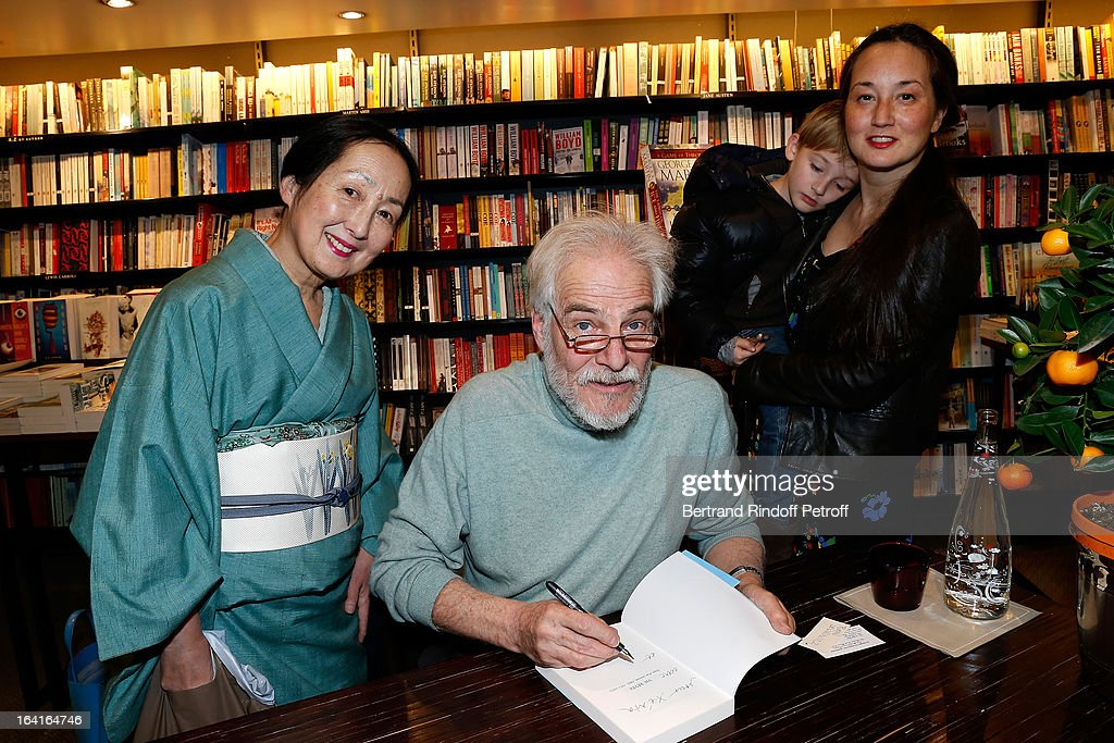 Setsuko Klossowska De Rola, the widow of late painter Balthus, Thadee Klossowski De Rola (son of Balthus) and Harumi Klossowska de Rola (daughter of Setsuko) with her son Sen attend the book signing of 'Dream Life' (Vie Revee) by Thadee Klossowski De Rola at Galignani Bookstore in Paris, France on March 20, 2013.