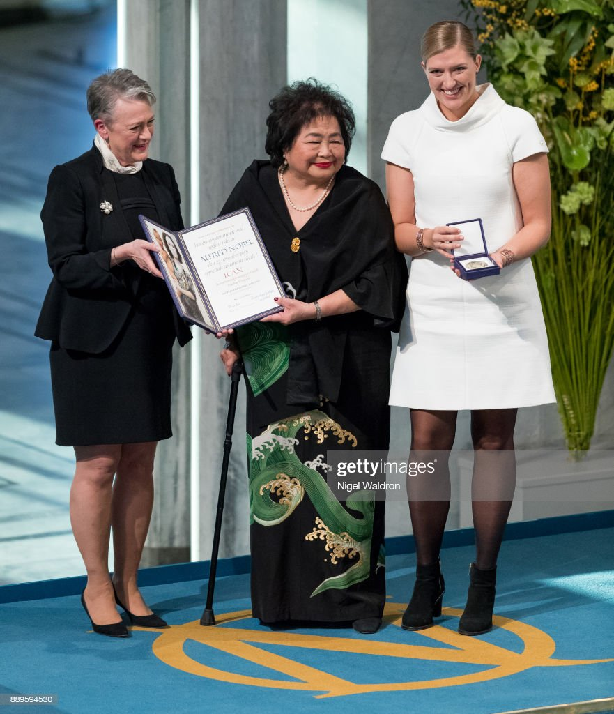 Setsuko Thurlow and Beatrice Fihn the Executive Director International Campaign to Abolish Nuclear Weapons (ICAN), receive the Nobel Peace Prize 2017 award from Berit Reiss-Andersen Head Nobel Committee of Norway during the Nobel Peace Prize ceremony at the Oslo City Hall on December 10, 2017 in Oslo, Norway.