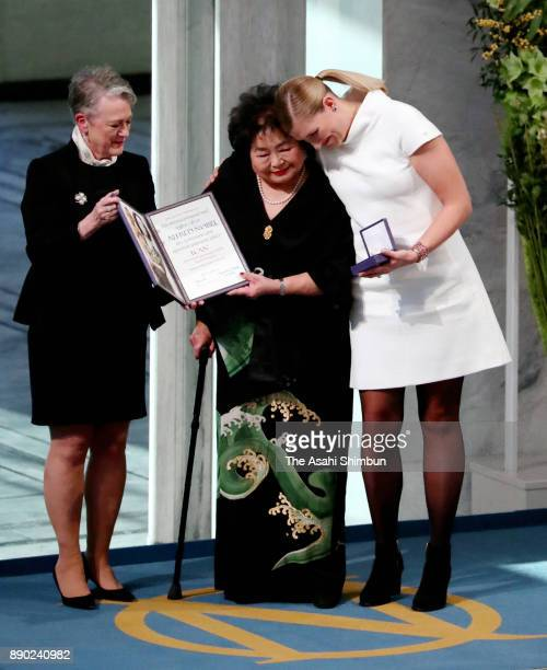 Setsuko Thurlow and Beatrice Fihn the Executive Director International Campaign to Abolish Nuclear Weapons receive the Nobel Peace Prize 2017 award...