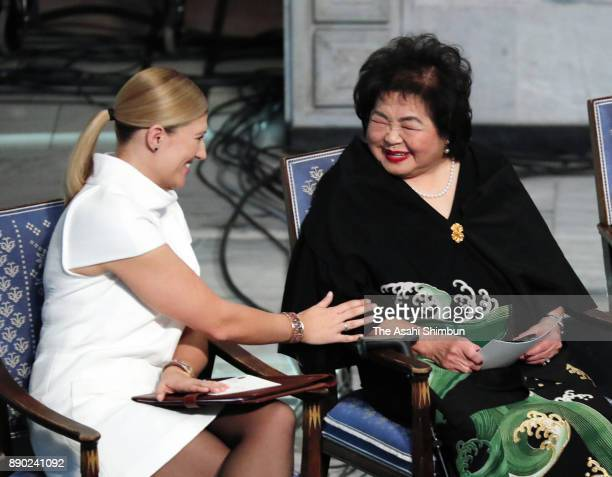 Setsuko Thurlow and Beatrice Fihn the Executive Director International Campaign to Abolish Nuclear Weapons attend the Nobel Peace Prize ceremony at...
