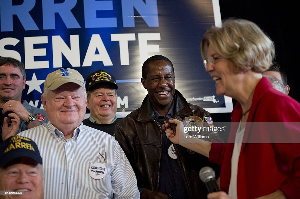 Setti Warren, mayor of Newton Mass., greets democratic senate candidate Elizabeth Warren, right, at First Baptist Church in Beverly, Mass. Warren is challenging Sen. Scott Brown, R-Mass.