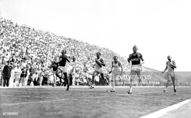Setting a new record Jesse Owens wins the 200meter in 21 seconds flat on the last day of the Olympic trials at the municipal Triborough Stadium on...