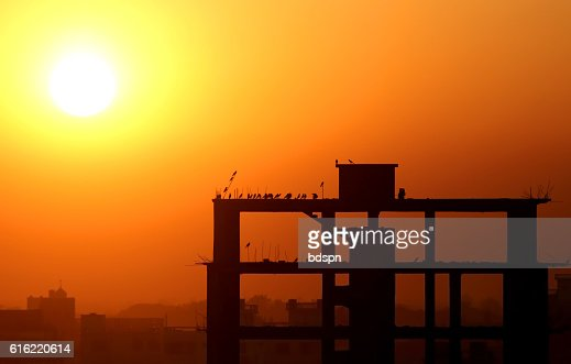 Setting sun behind construction building : Stock Photo