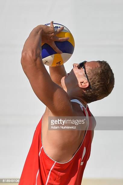 Setting the Belarus's Aliaksandr Dziadkou during FIVB Grand Tour Olsztyn Day 1 on July 19 2017 in Olsztyn Poland