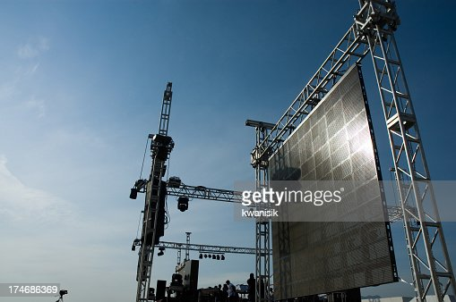 Setting up concert stage for event