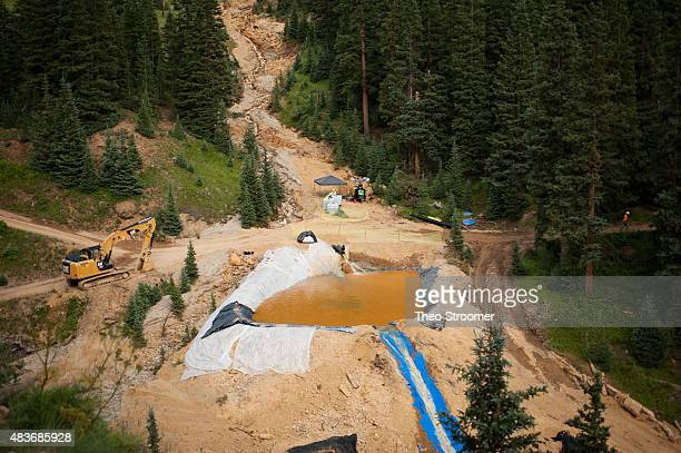 A settling pond is used at Cement Creek which was flooded with millions of gallons of mining wastewater on August 11 2015 in Silverton Colorado The...