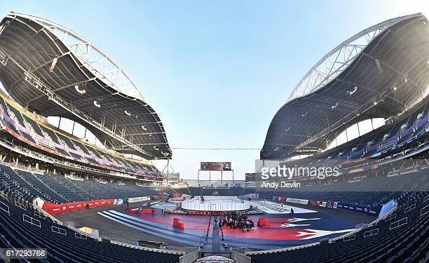 Setup of the arena in advance of the 2016 Tim Hortons NHL Heritage Classic alumni game at Investors Group Field on October 22 2016 in Winnipeg Canada