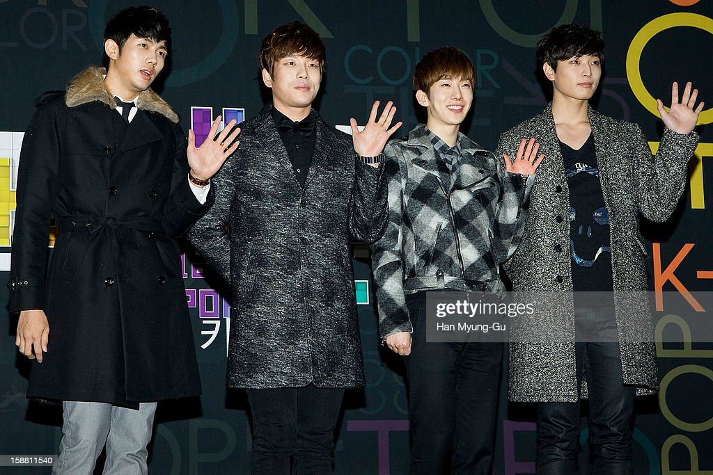 Seulong, Changmin, Jo Kwon and Jinwoon of South Korean boy band 2AM arrive at the 2012 SBS Korea Pop Music Festival named 'The Color Of K-Pop' at Korea University on December 29, 2012 in Seoul, South Korea.