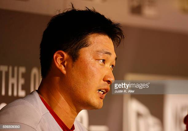 Seung Hwan Oh of the St Louis Cardinals in the dugout in the eighth inning during the game against the Pittsburgh Pirates at PNC Park on June 10 2016...