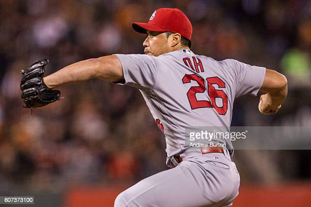 Seung Hwan Oh of the St Louis Cardinals pitches against the San Francisco Giants at ATT Park on September 17 2016 in San Francisco California