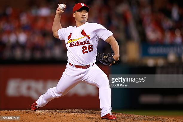 Seung Hwan Oh of the St Louis Cardinals pitches during a baseball game against the Philadelphia Phillies at Busch Stadium on May 4 2016 in St Louis...