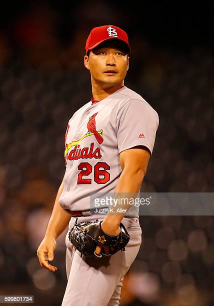 Seung Hwan Oh of the St Louis Cardinals pitches in the ninth inning during the game against the Pittsburgh Pirates at PNC Park on September 6 2016 in...