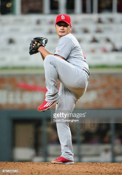 Seung Hwan Oh of the St Louis Cardinals throws a ninth inning pitch against the Atlanta Braves at SunTrust Park on May 6 2017 in Atlanta Georgia