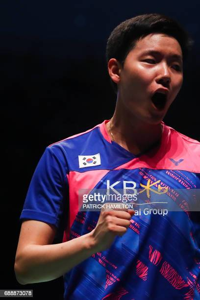 Seung Jae Seo of South Korea reacts during the men's doubles Sudirman Cup match with partner Choi Solgyu against Bodin Issara and Dechapol...
