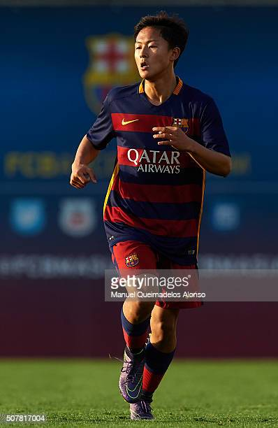 Seung Woo Lee of Barcelona looks on during the match between FC Barcelona U18 and Real Zaragoza U18 at Ciutat Esportiva Joan Gamper on January 31...