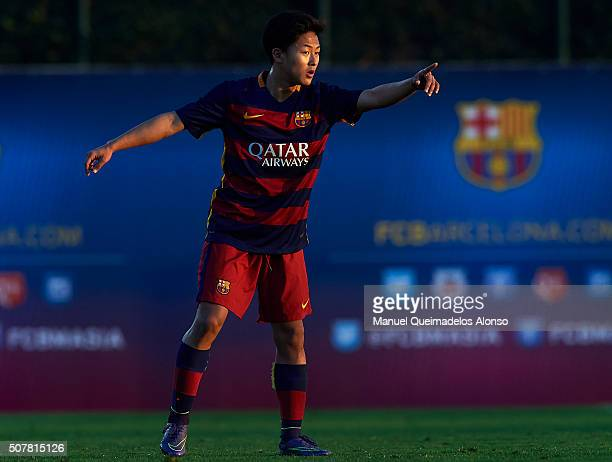 Seung Woo Lee of Barcelona reacts during the match between FC Barcelona U18 and Real Zaragoza U18 at Ciutat Esportiva Joan Gamper on January 31 2016...