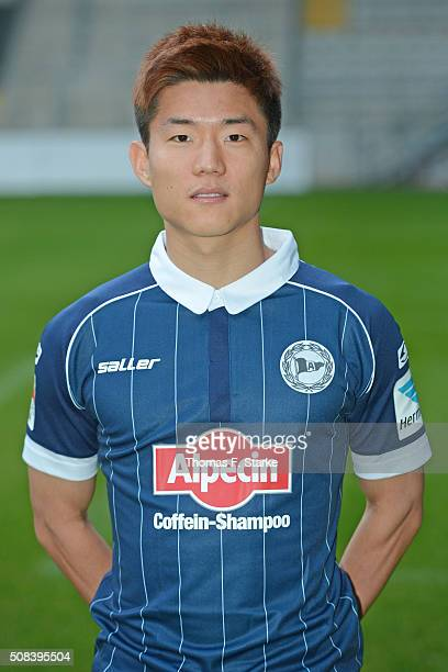 Seung Woo Ryu poses during the Second Bundesliga team presentation of Arminia Bielefeld at Schueco Arena on February 4 2016 in Bielefeld Germany