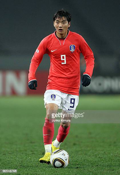 Seung Yeoul Lee of South Korea in action during the East Asian Football Championship 2010 match between China and South Korea at Ajinomoto Stadium on...