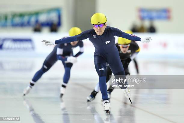 SeungHoon Lee of South Korea celebrates as he cross the finishing line in the speed skating mens mass start on the day six of the 2017 Sapporo Asian...