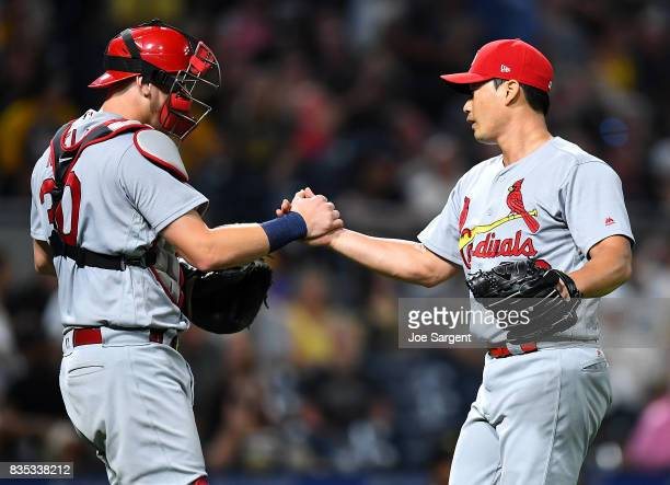 SeungHwan Oh celebrates with Carson Kelly of the St Louis Cardinals after a 1110 win over the Pittsburgh Pirates at PNC Park on August 18 2017 in...