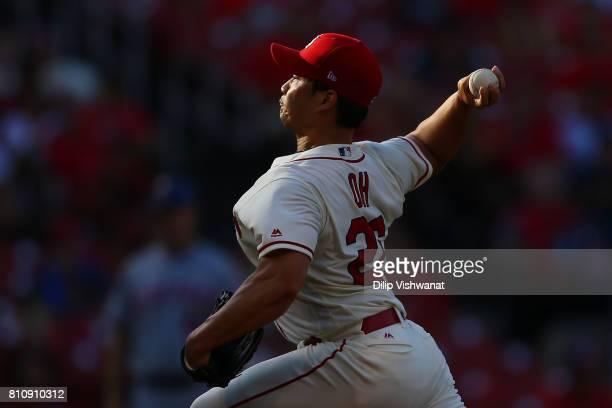 SeungHwan Oh of the St Louis Cardinals delivers a pitch against the New York Mets in the ninth inning at Busch Stadium on July 8 2017 in St Louis...