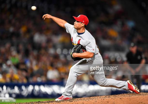 SeungHwan Oh of the St Louis Cardinals in action during the game against the Pittsburgh Pirates at PNC Park on July 14 2017 in Pittsburgh Pennsylvania