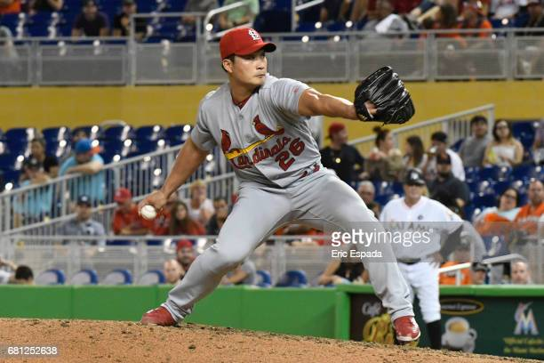 SeungHwan Oh of the St Louis Cardinals throws a pitch during the ninth inning against the Miami Marlins at Marlins Park on May 9 2017 in Miami Florida