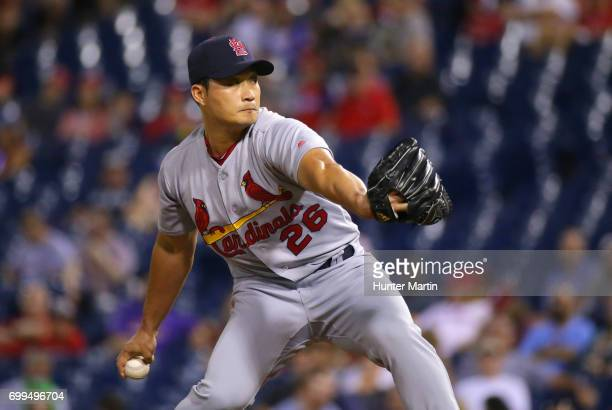 SeungHwan Oh of the St Louis Cardinals throws a pitch in the 10th inning during a game against the Philadelphia Phillies at Citizens Bank Park on...