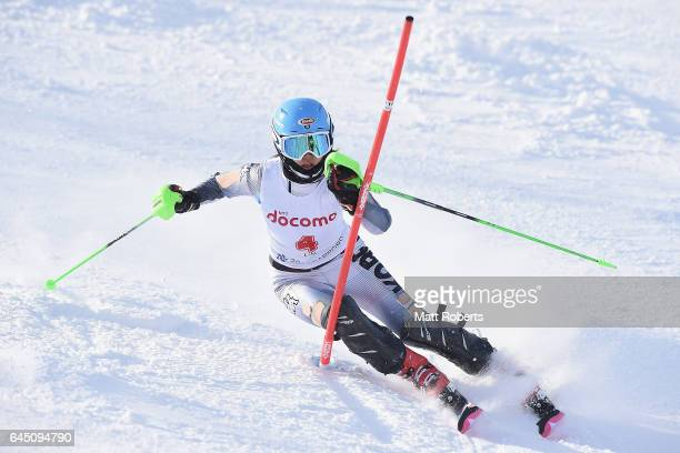 SeungHyun Rim of Korea competes in women's slalom alpine skiing on the day eight of the 2017 Sapporo Asian Winter Games at Sapporo Teine on February...
