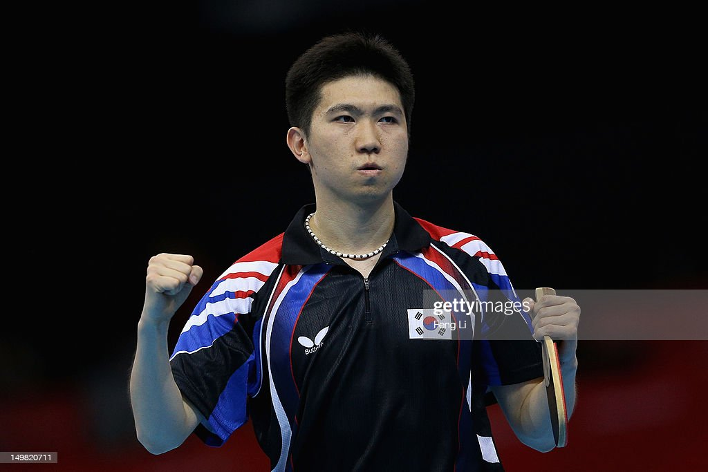 Seungmin Ryu of Korea celebrates during Men's Team Table Tennis first round match against team of DPR Korea on Day 8 of the London 2012 Olympic Games at ExCeL on August 4, 2012 in London, England.