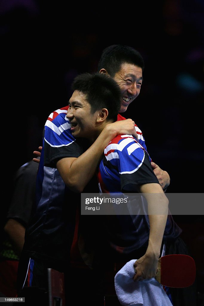 Seungmin Ryu of Korea celebrates during Men's Team Table Tennis quarterfinal match against team of Portugal on Day 9 of the London 2012 Olympic Games at ExCeL on August 5, 2012 in London, England.