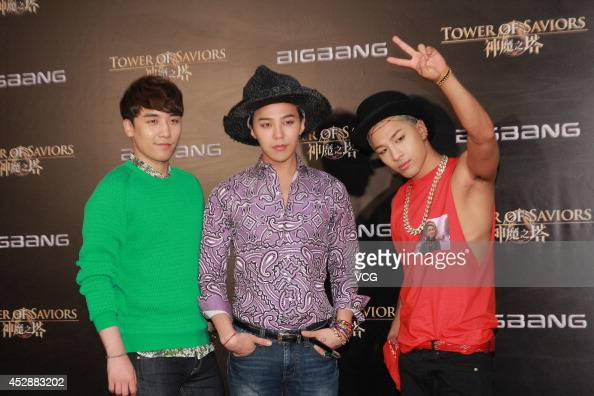 Seungri GDragon and Taeyang of South Korean boy band Bigbang attend mobile game 'Tower of Saviors' promotional event at Hong Kong Convention and...