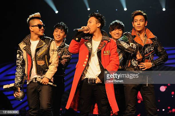 Seungri GDragon Taeyang TOP Daesung of Korean boy band Big Bang perform onstage during the MTV Europe Music Awards 2011 live show at at the Odyssey...