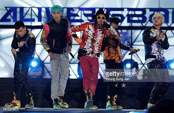 Seungri GDragon TOP Taeyang and Daesung of Big Bang perform on the stage during a concert at the KCollection In Seoul on March 11 2012 in Seoul South...