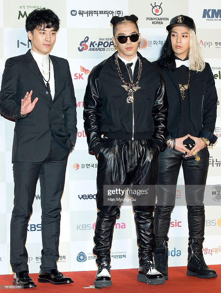 Seungri Taeyang and GDragon of South Korean boy band Bigbang attend during the 2nd Gaon Chart KPOP Awards at Olympic Hall on February 13 2013 in...