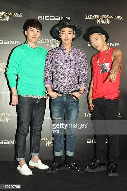 SeungriGDragon and Taeyang of South Korean boy band Bigbang attend mobile game 'Tower of Saviors' promotional event at Hong Kong Convention and...