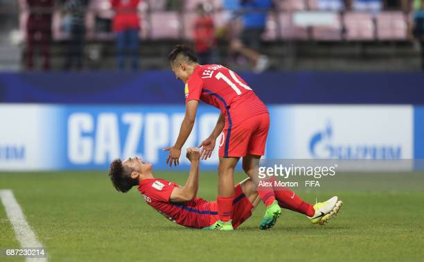 Seungwoo Lee and Youngwook Cho celebrate at the final whistle during the FIFA U20 World Cup Korea Republic 2017 group A match between Korea Republic...